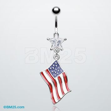 The United States Flag Belly Button Ring