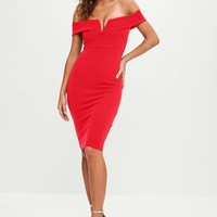 Missguided - Red V Front Bardot Midi Dress
