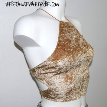 Gold Crop Top |Gold Halter Top| Velvet Halter Top |Halterneck Top |Halter Crop Top |Gold Corset |Caged Top |Gold Bralette |Clubwear Gold Top