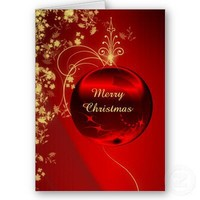 Elegant Red Christmas Ornament Greeting Card from Zazzle.com