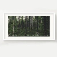 "John Muir Forest Print - ""Going to the woods is going home."" - Nature, Quote, Panoramic, Trees, Poster, Picture 5x10"