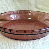 Pyrex - Purple Pie Plate //  Cranberry Glass Pie dish