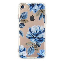 For Apple iPhone 7 7Plus 6S 6Plus Case Cover Blue Flowers Pattern HD TPU Phone Shell Material Phone Case