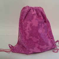 Pink Patterned Upcycled Shirt Drawstring Backpack, Cinch Sack, Hipster Back Pack OOAK
