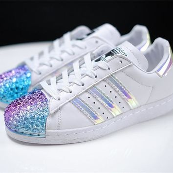 adidas Originals White Superstar 80S Trainers With Colorful 3D M 59638a452