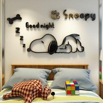 Snoopy kindergarten creative children room decorative three-dimensional wall stickers Bedside bedroom 3d wall stickers anime stickers