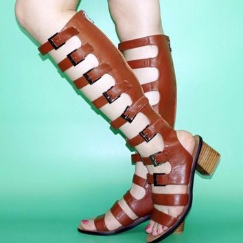 Strappy Buckle Knee High Gladiator Sandals