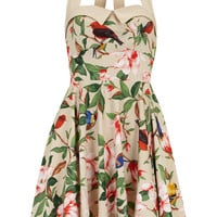 Beige Floral Halterneck Dress