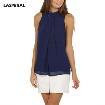 LASPERAL Sexy Stand Collar Chiffon Crop Tops Women Sleeveless Ruffles Shirts Female Solid Tank Tops Plus Size 3xl Vest