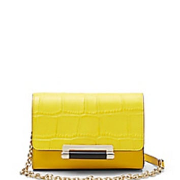 DVF 440 Micro Mini Croc Crossbody Bag