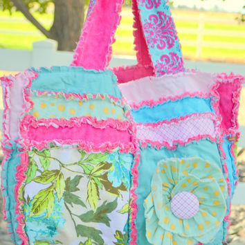Turquoise and Hot Pink Ruffle Flower Diaper Bag-Made to Order