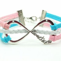 Pink Blue Braided Rope and White Braided Leather Steampunk Adjustable Vintage Silver Large Karma Bracelet,infinity Wish Bracelet 1152r: Jewelry
