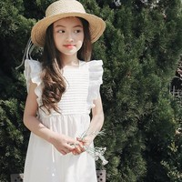 Amuybeen Casual Solid White Blue Girls Summer Dress 2017 Princess Cotton Kids Clothes Toddler Children Costume for 4 7 10 12 14