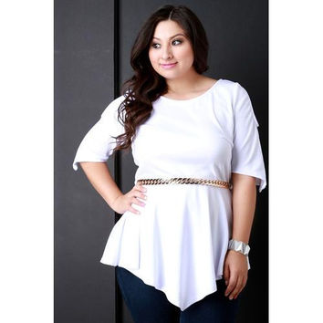 Cold Shoulder Peplum Chain Belted Top