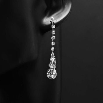 Rhinestone Silver Dangle With Solitare Shaped Stones Wedding Bridal Earrings