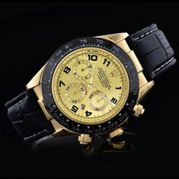 Kalete Rolex Fashion Delicate Ladies Men Business Sport Movement Lovers Watch Black Gold Dial I-SBHY-WSL