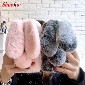 Shuohu Luxury Soft Rabbit Fur Phone Cases for Iphone 7 6 6S 8 Plus Case Glitter Girl Protection Coque for Iphone X 5 5S SE Case
