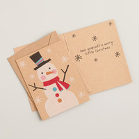 Snowman Kraft Paper Boxed Holiday Cards, Set of 15 - World Market