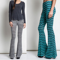 Eliza Bella for Umgee White or Teal Hippie Big Flare Bell Bottom Pants Size SML