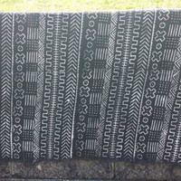 "Vintage Authentic Mali African Handmade BLACK Mud Cloth Bambara Fabric~68""x 40"" textile/Cowry throw/rug/wallhanging"