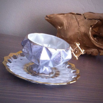 Antique LM Royal Halsey light grey blue geometric tea cup and saucer set