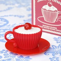 Set Of Two Red Teacup Baking Moulds