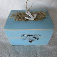 Distressed  Beach Nautical Themed Wedding Ring Bearer Box with Anchor
