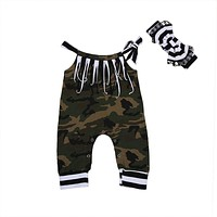 Baby Girl Boys Clothes Camouflage Romper Tassel Off Shoulder Jumpsuit +Headband Clothing