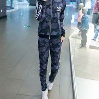 """Adidas"" Fashion Casual Clover Letter Flower Print Long Sleeve Zip Cardigan Set Two-Piece Sportswear"