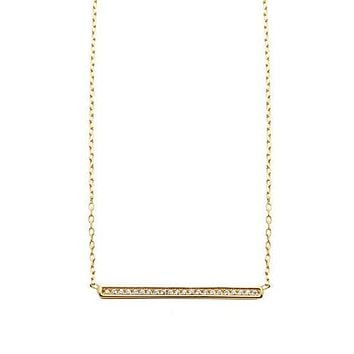 Skyfall Gold Bar Necklace With Cz Diamonds