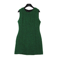 Textured Green Herringbone Dress