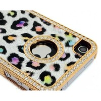 LiViTech(TM) Cushion Quilted Designer Cheetah Diamond Rhinestone Crystal Bling Case iPhone 4 4S (AT&T,VERIZON,SPRINT) (Purple)