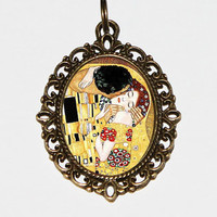 The Kiss Necklace, Gustav Klimt, Art Nouveau, Fine Art Jewelry, Oval Pendant