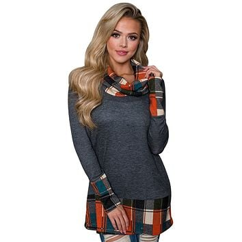 Dark Gray Autumn Wind Plaid Cowl Neck Tunic