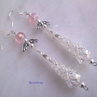 Sterling silver filigree Angel Earrings featuring pink Czech crystal