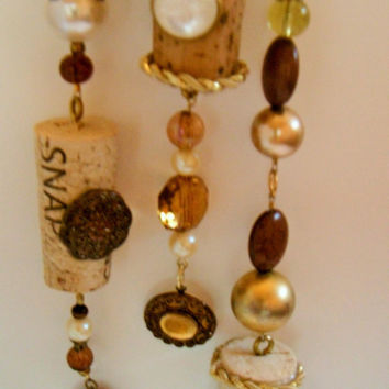 Wine Cork Ornament, Gold Beaded Ornament, Set of 3 Ornaments, Recycled Repurposed Jewelry, Sun Catcher, Icicle Ornament, Christmas Ornament