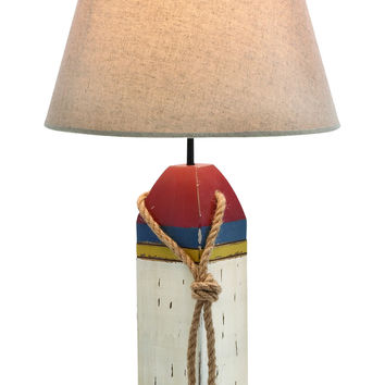 Cylindrical Shaped Wooden Buoy Table Lamp In Snow White Shade