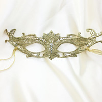 Gold Lace Masquerade Mask - Intricate Lace Mask - Mardi Gras Mask - Fabric Mask Made of Detail Lace for Masquerade Wedding, Prom Masquerade