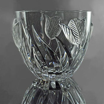 Crystal Tulip Bowl, Cristal De France, 24K Leaded Crystal, Clear, Raised Tulip Pattern, Centerpiece