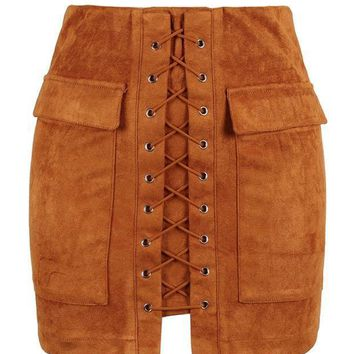 MDIGHQ9 Brown Faux Suede Lace Up Front Pencil Mini Skirt
