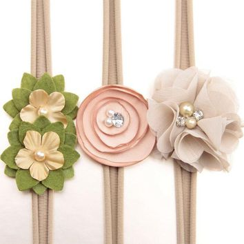 Lovely 3pcs Flower Crown headwear girl Flower Tie back halo Bridal Flower Crown headbands hair Accessories photo prop For Kids