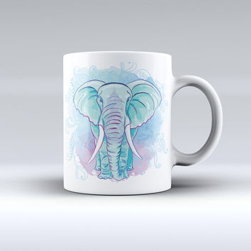 The Flourished Blue & Purple Sacred Elephant ink-Fuzed Ceramic Coffee Mug