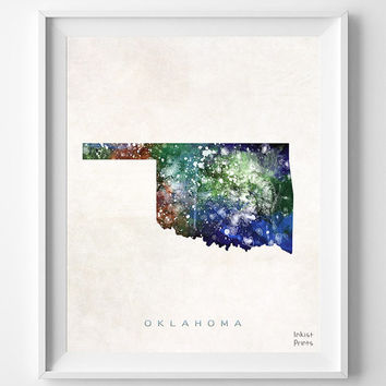 Oklahoma Map, Oklahoma City Poster, Painting, Watercolor, Nursery, Room, Home Town, Wall Art, USA, United States, Decor, Gift [NO 372]