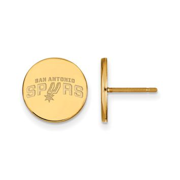 NBA San Antonio Spurs 14k Yellow Gold Plated Silver SM Disc Earrings