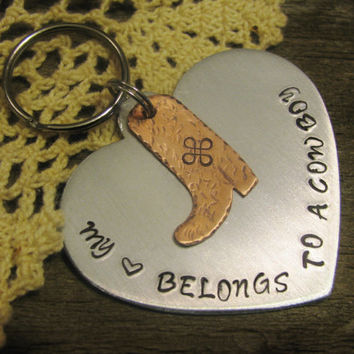 Valentine Cowboy Boot Key Fob Key Chain Hand Stamped Great Gift Idea for Loved One Heart Valentine's Gift