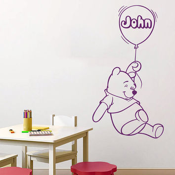 Winnie The Pooh Wall Decal Air Balloon Art Custom Personalized Name Vinyl Stickers Home Bedroom Interior Design Kids Baby Nursery Decor KY19