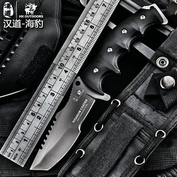 HX outdoor hardness high tactical knife multi tool surface plated titanium Fixed black Knife Camping Tool survival hunting knive
