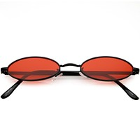 Extreme Small Oval Sunglasses Color Tinted Flat Lens 51mm