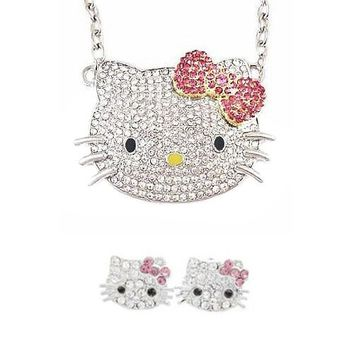 "Wrapables Crystal Kitty with Pink Bow Jewelry Set - 3/5"" Earrings and Large Pendant Necklace"