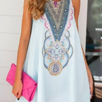 Light Blue Tribal Pattern Sleeveless Mini Dress